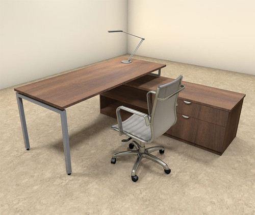 2pc L Shaped Modern Contemporary Executive Office Desk Set, #OF-CON-L49