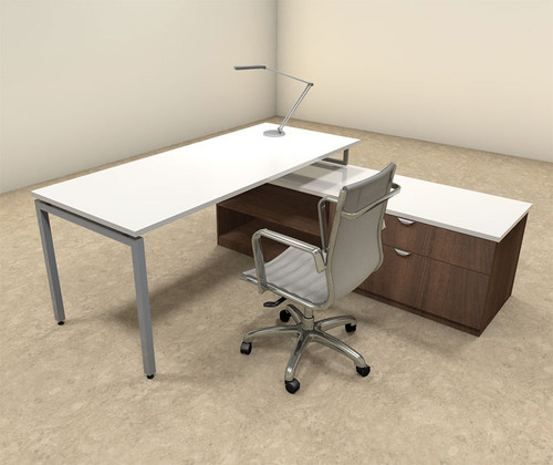 2pc L Shaped Modern Contemporary Executive Office Desk Set, #OF-CON-L54