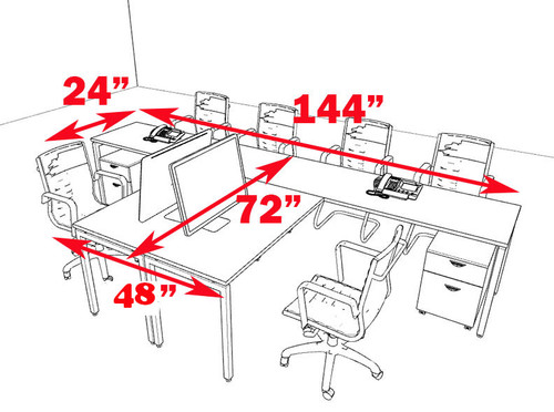 Two Persons Modern Executive Office Workstation Desk Set, #OF-CON-S14
