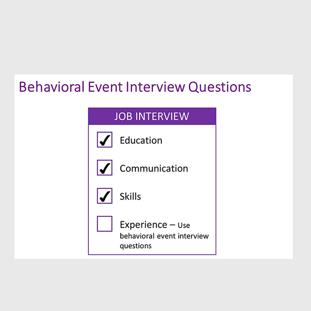 Primary thumbnail image for video Behavioral Event Interview Question Set https://videos.sproutvideo.com/embed/a49adfbb1b1cecc42c/88f3bdf01fdd53c7?playerTheme=light