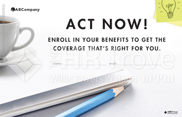 Thumbnail image for Benefits Enrollment Poster (Bright Ideas Design) with company logo and watermarked