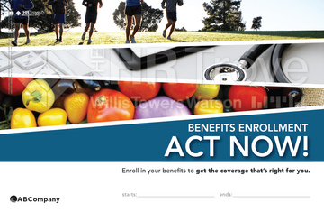 Thumbnail image for Benefits Enrollment Poster showing customer logo placement watermarked (Outdoor Vibrant Design)