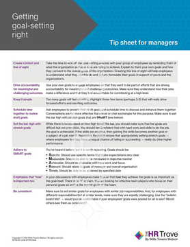 Getting Goal-setting Right Tip Sheet for Managers - Setting SMART Goals for Employees Tool watermarked image