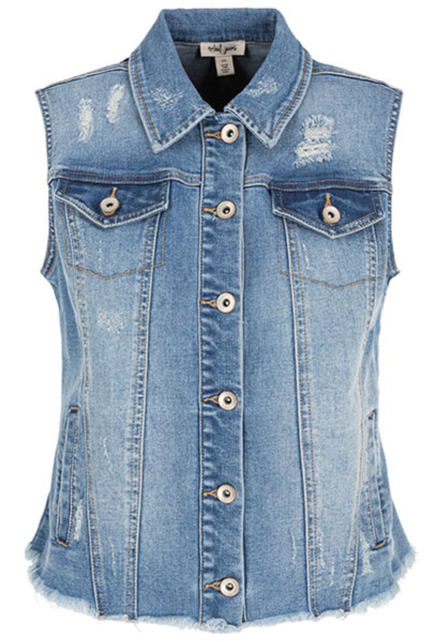 great deals 2017 enjoy bottom price various styles Tribal Distressed Jean Vest 6298O