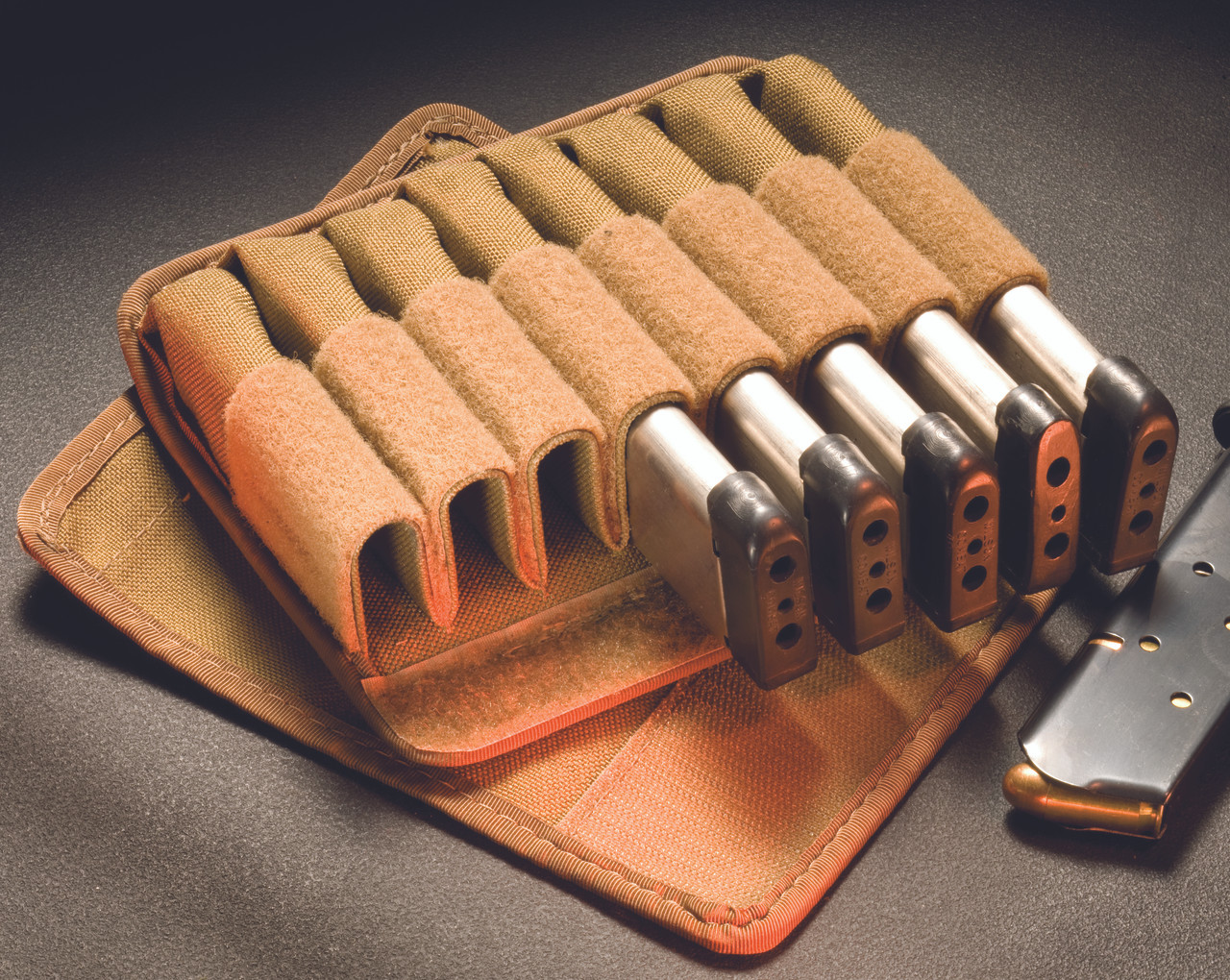 7068-CBV-1 TUFF Products Original 8 In-Line Mag Pouch,Coyote Brown,.45ACP