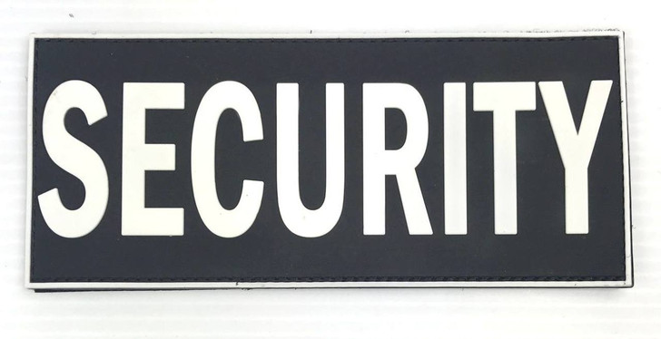 "Security PVC Patch White Letters Black Background 7""x 3"" with Velcro Back"