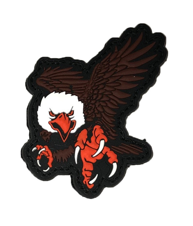 "Eagle PVC Patch 3""x 2"" Die Cut Shape Comes with Velcro Loop and Sewn Hook."