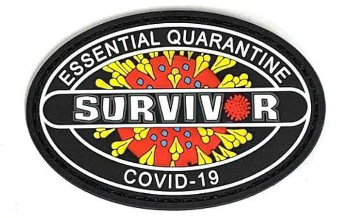"Patch 3""x2""  Covid-19 Survivor with Velcro- Glow in the Dark"