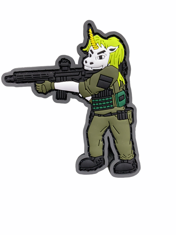 Tactical Lady Unicorn 3 inches tall with Hook and Loop