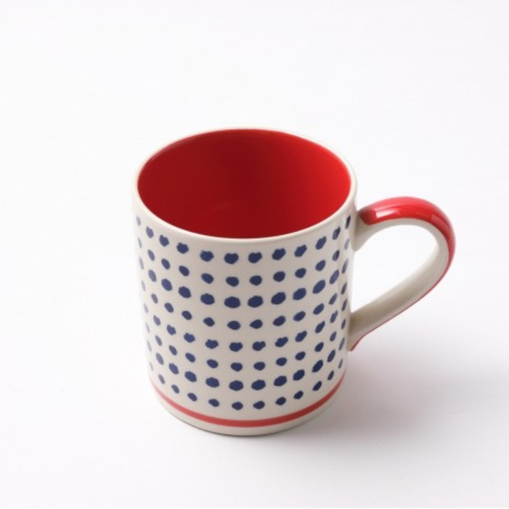 Mame Red Hand Painted Ceramic Mug Cup