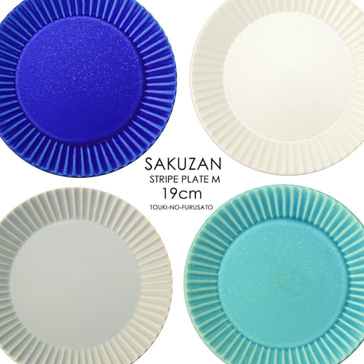 SAKUZAN Stripe Round Plate M