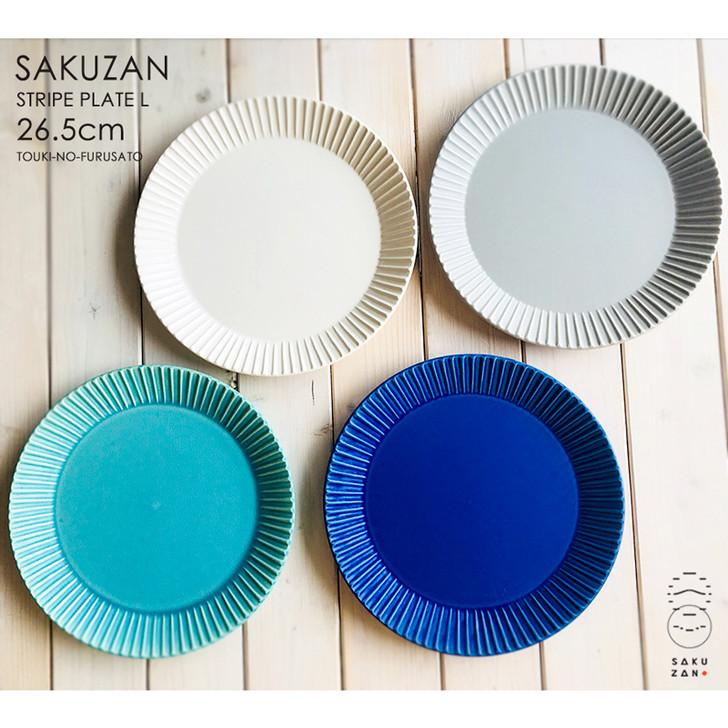 SAKUZAN Stripe Round Plate L