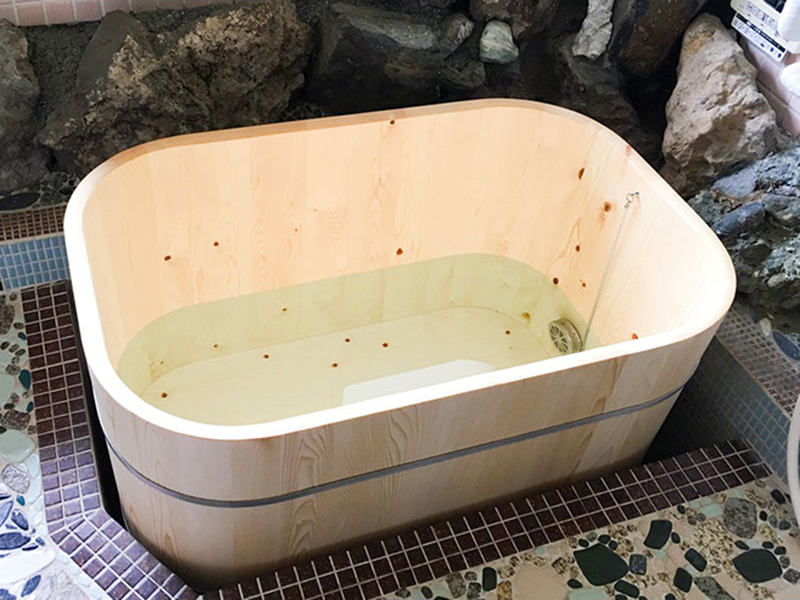 Rounded Corners Box Type Wooden Bath / Hinoki Bath