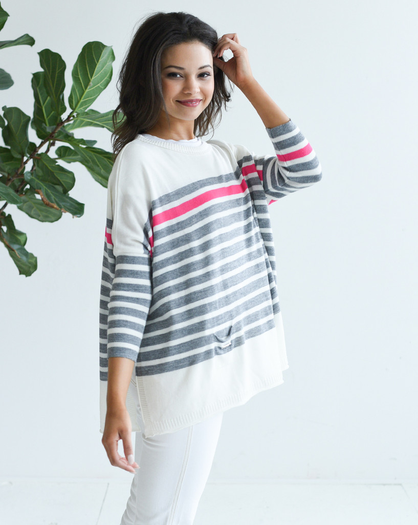 Catalina Travel Sweater - Mer-Sea & Co. - Striped Grey/Pink