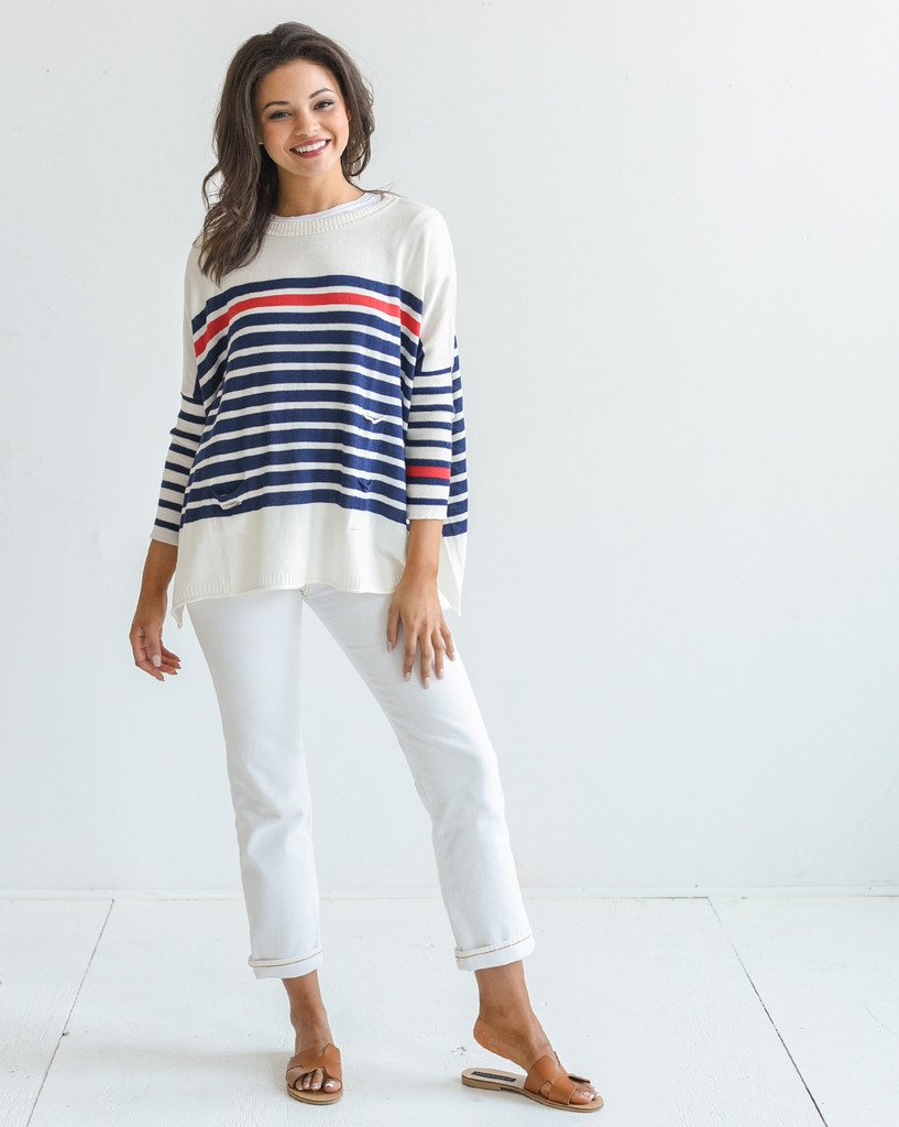 Catalina Travel Sweater - Mer-Sea & Co. - Striped Navy/Red
