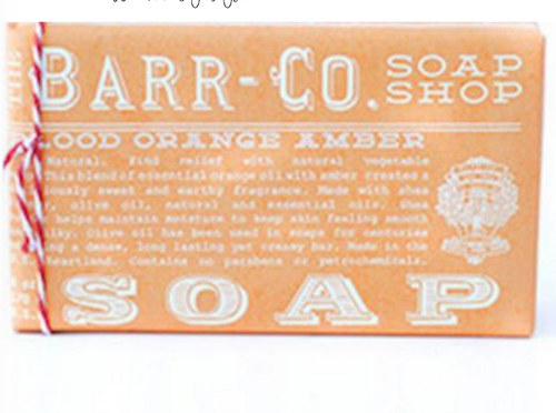 Barr-co bar soap in orange amber scent