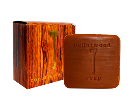 A warmly scented, masculine soap infused with cedar wood oil, from the tree associated with vitality, power, and life.  The golden axe embossed on the soap symbolizes the power of cedarwood oil.   5.8oz, packaged in woodgrain cardstock.  Ingredients  Sodium palmate, sodium palm kernelate, water, glycerin, cedar wood oil natural fragrance, sodium chloride, pentasodium pentetate, tetrasodium editronate, color.