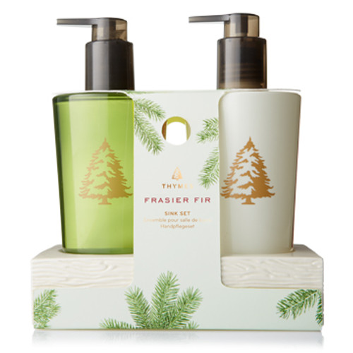 This convenient set brings together Thymes Frasier Fir Hand Wash and Hand Lotion in one convenient caddy. Perfect sink-side care for busy hands! Thymes Frasier Fir Sink Set makes a wonderful gift for hosts and hostesses, new homeowners, teachers or anyone who will enjoy crisp, just-cut forest fragrance.