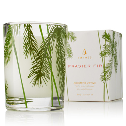 Mountain fresh and glowing, this scented Frasier Fir Votive Candle enhances any decor or makes an elegant hostess gift. Fills your home with crisp, just-cut forest fragrance that evokes Christmas memories.