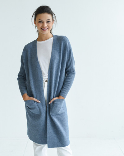 The Hampton Cashmere Duster - Chambray