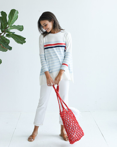 Catalina Travel Sweater - Mer-Sea & Co. - Stridped Sky/Red/Navy