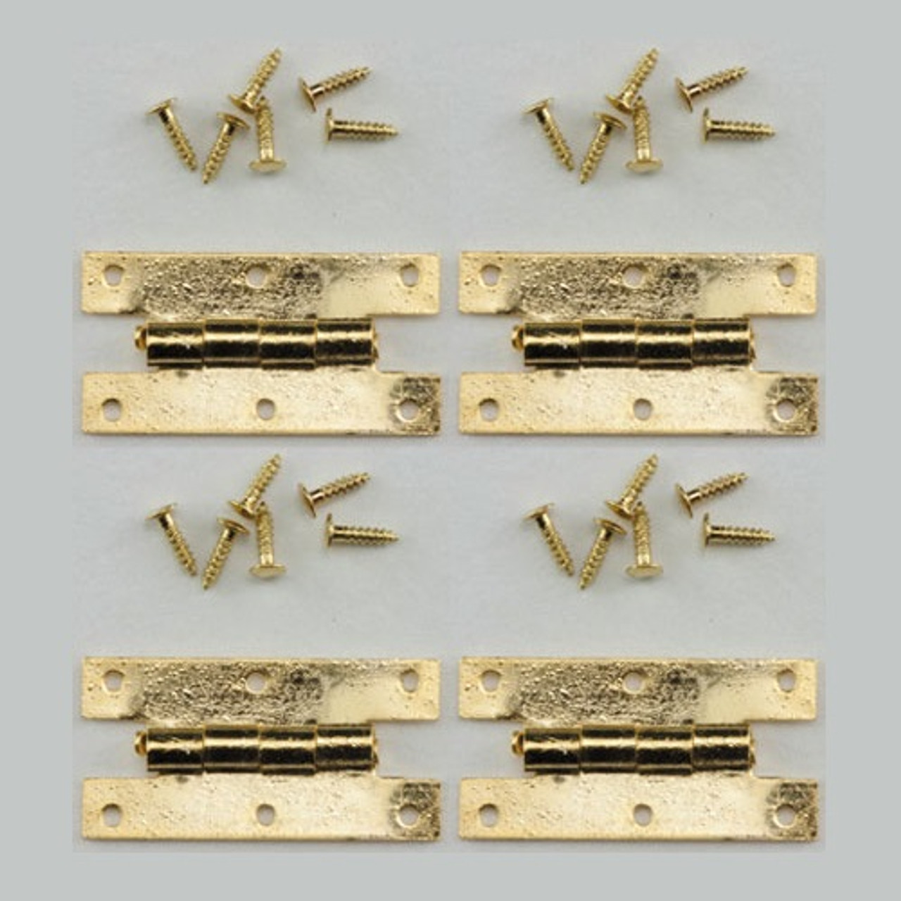 Image of miniature brass H hinges with nails/brads