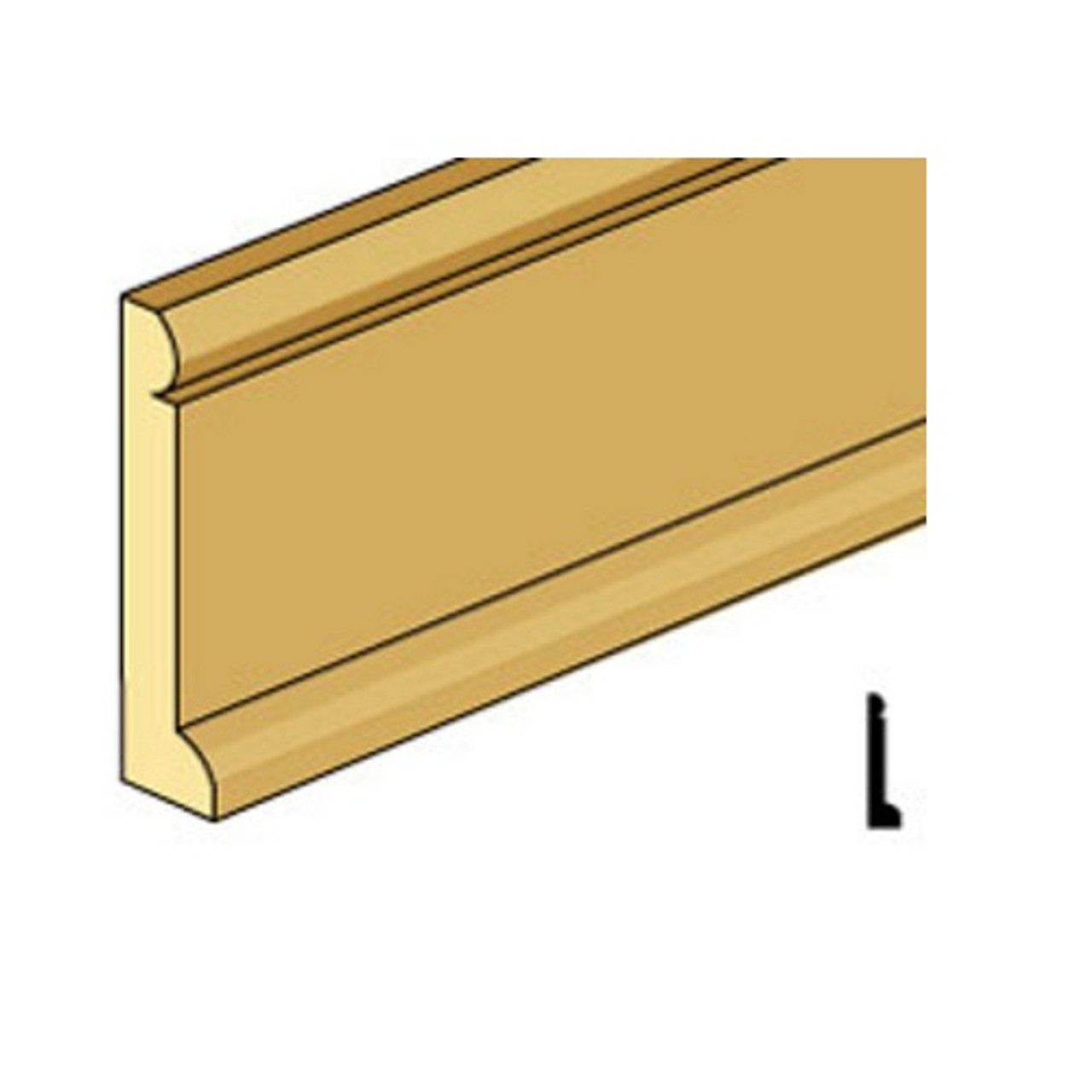 """1/2"""" high baseboard molding with cap and shoe profile."""