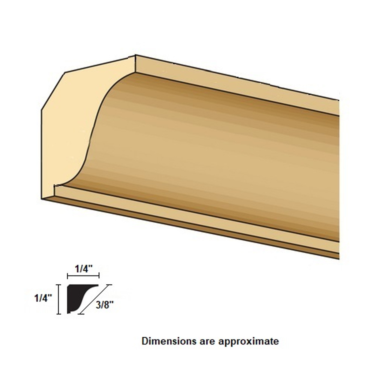 Illustration of CLA77069 small crown molding with profile cut out