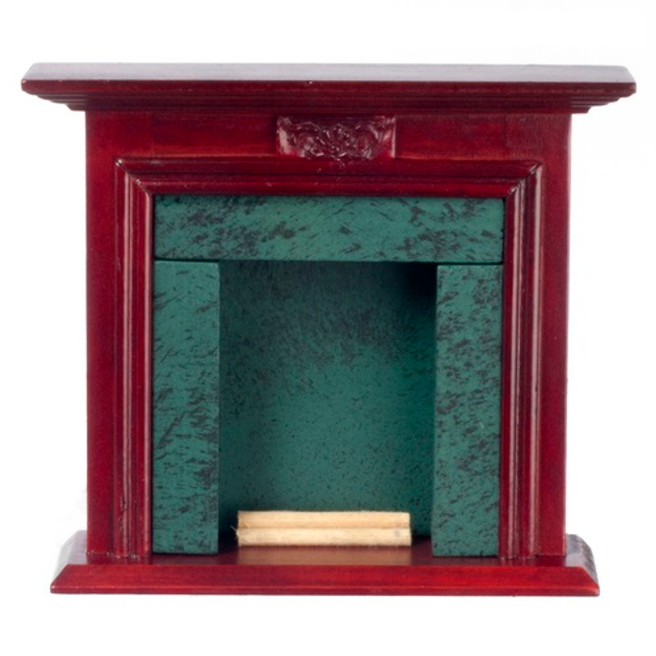 """Mahogany finished dollhouse fireplace with dark green """"marble"""" surround"""