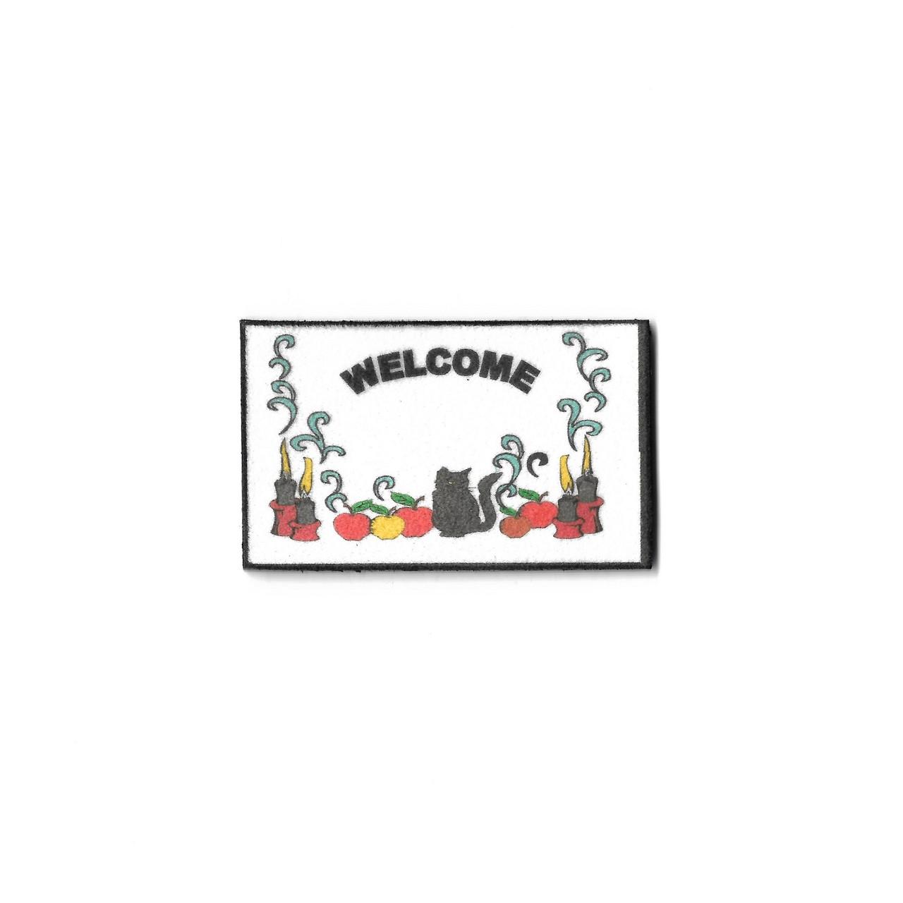 Dollhouse Miniature Doormat, Halloween Cats Welcome (SMSHW475BA)