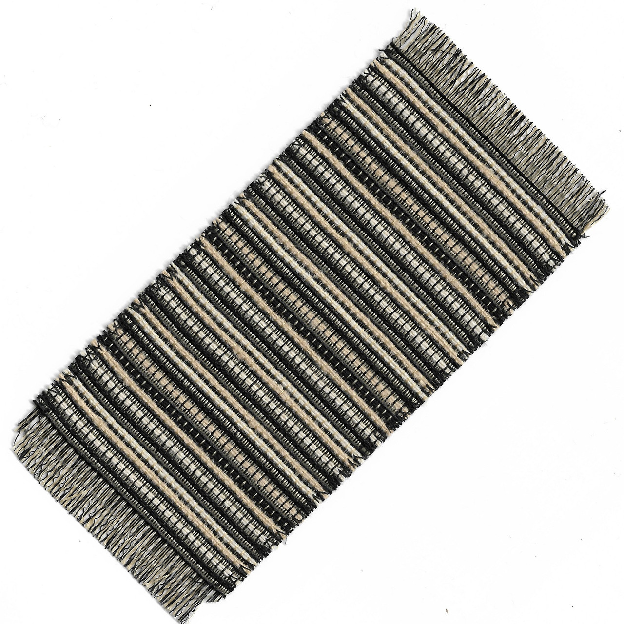 Small Black and Tan Woven Rug (SMSHWRS416Y)