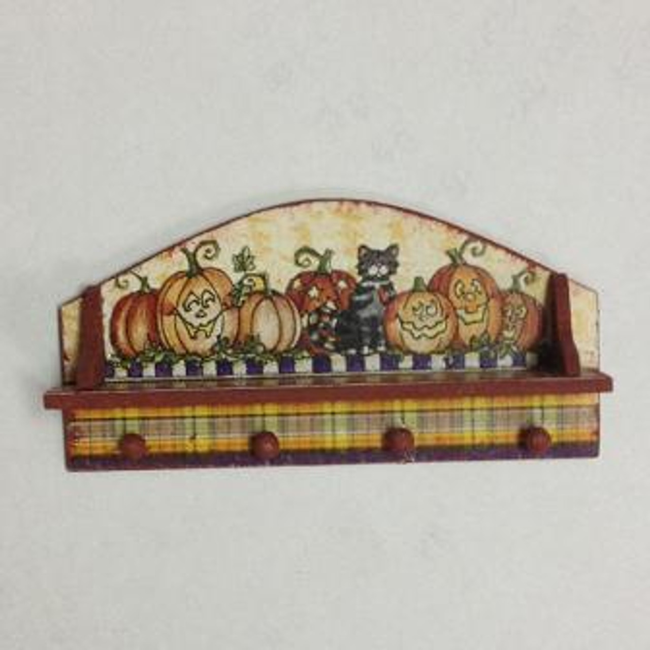 Halloween Peg Hook Shelf (DFI207A) kit; shown assembled with one of the several decorative options