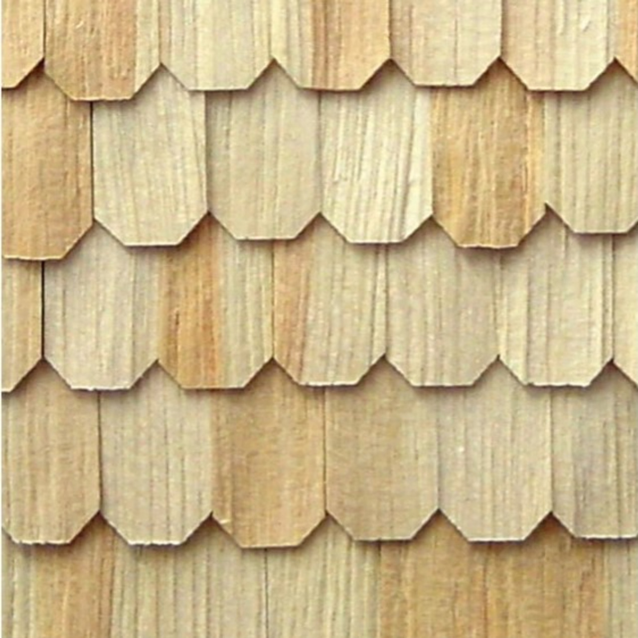 RGTSWO - Extra Long Pine Hexagon Shingles; installed section shown