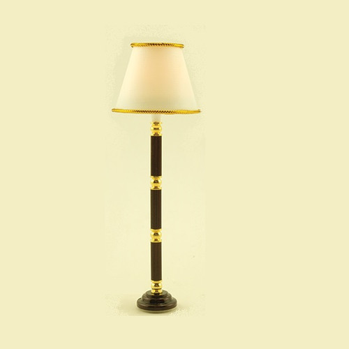 Brass/Brown Floor Lamp (MH716); shown lit