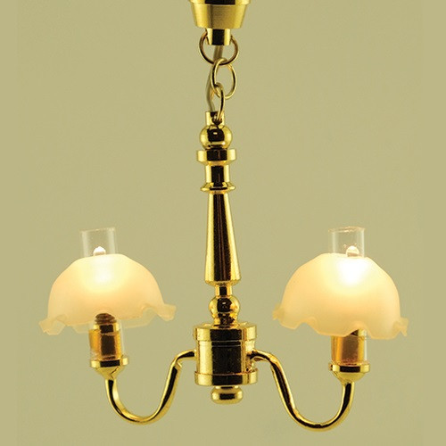 Fluted Two-Arm Chandelier (MH726); lit