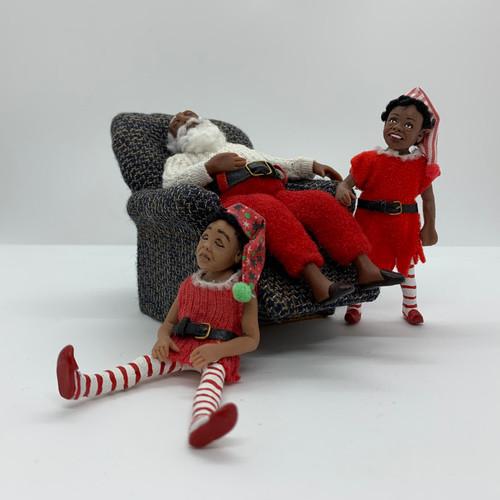 Dollhouse Miniature Santa & 2 Elves (TM944)