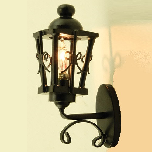 Ornate Wrought Iron Coach Lamp (MH1026); shown lit