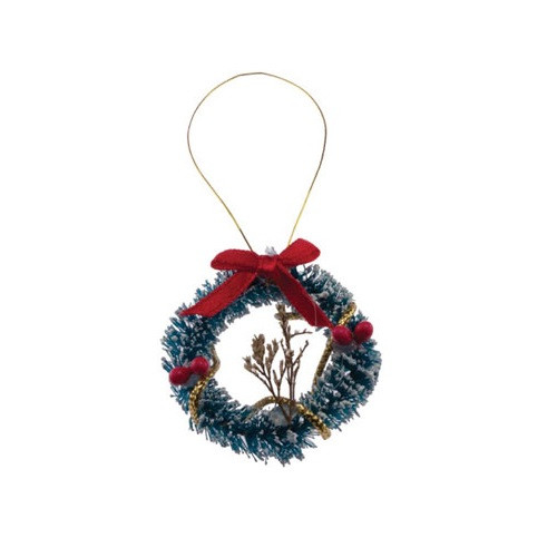 Dollhouse miniature Christmas holiday wreath with red bow