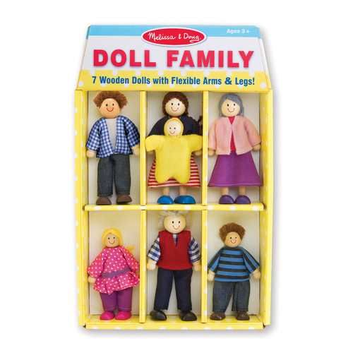 Wooden dollhouse family shown in packaging