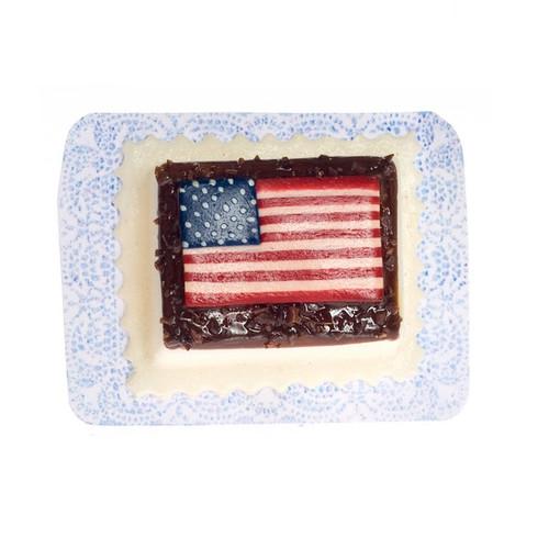 Dollhouse Miniature American Flag Sheet Cake