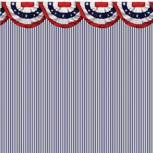 IBM2542 - Wallpaper - Blue White Stripe Thin with Bunting Border