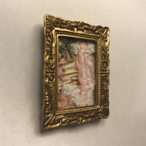 Dollhouse Baby Memory's Ornate Framed Box (side angle)
