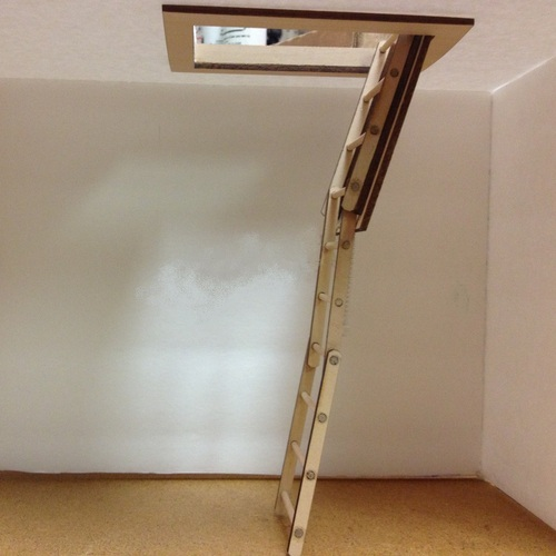Dollhouse Miniature Pull-Down Attic Stairs w/Treads (AL2299T); open position from ceiling