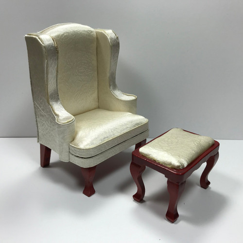 1:12 Scale Dollhouse Miniature Queen Ann Wing Back Chair w/Stool (AZT3162) angled from above