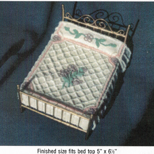 Image shows suggested completed bouquet chenille bedspread pattern.  Threads and bed sold separately.