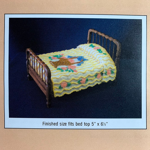 Flower Basket Chenille Bedspread Pattern (BNAMCH-FB); image shows product completed from pattern.  Thread and bed sold separately.