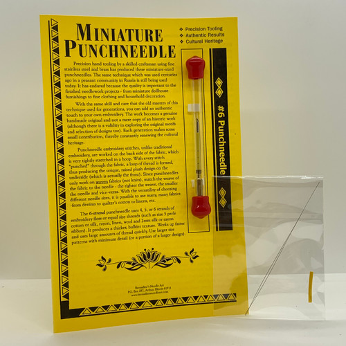 Miniature #6 Punchneedle (BNA106) showing what is included in package (needle, extra gauge, threader)