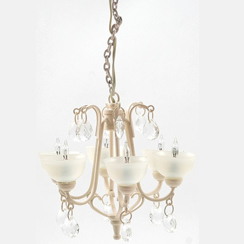 Contemporary Crystal Drop Chandelier, Ivory (MH1051); unlit