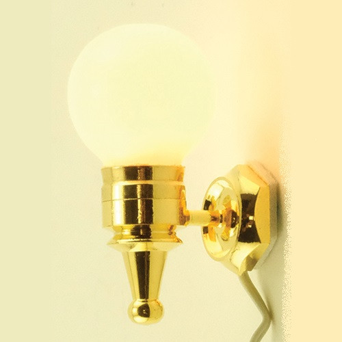 Dollhouse Miniature Wall Sconce, Removable Globe (MH846); shown lit