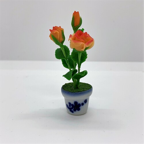 Dollhouse Miniature Orange Roses in Pot (AZG7451)